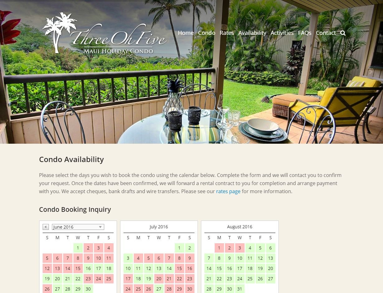 Availability – Maui Holiday Condo Www Mauiholidaycondo Com Availabilit00926