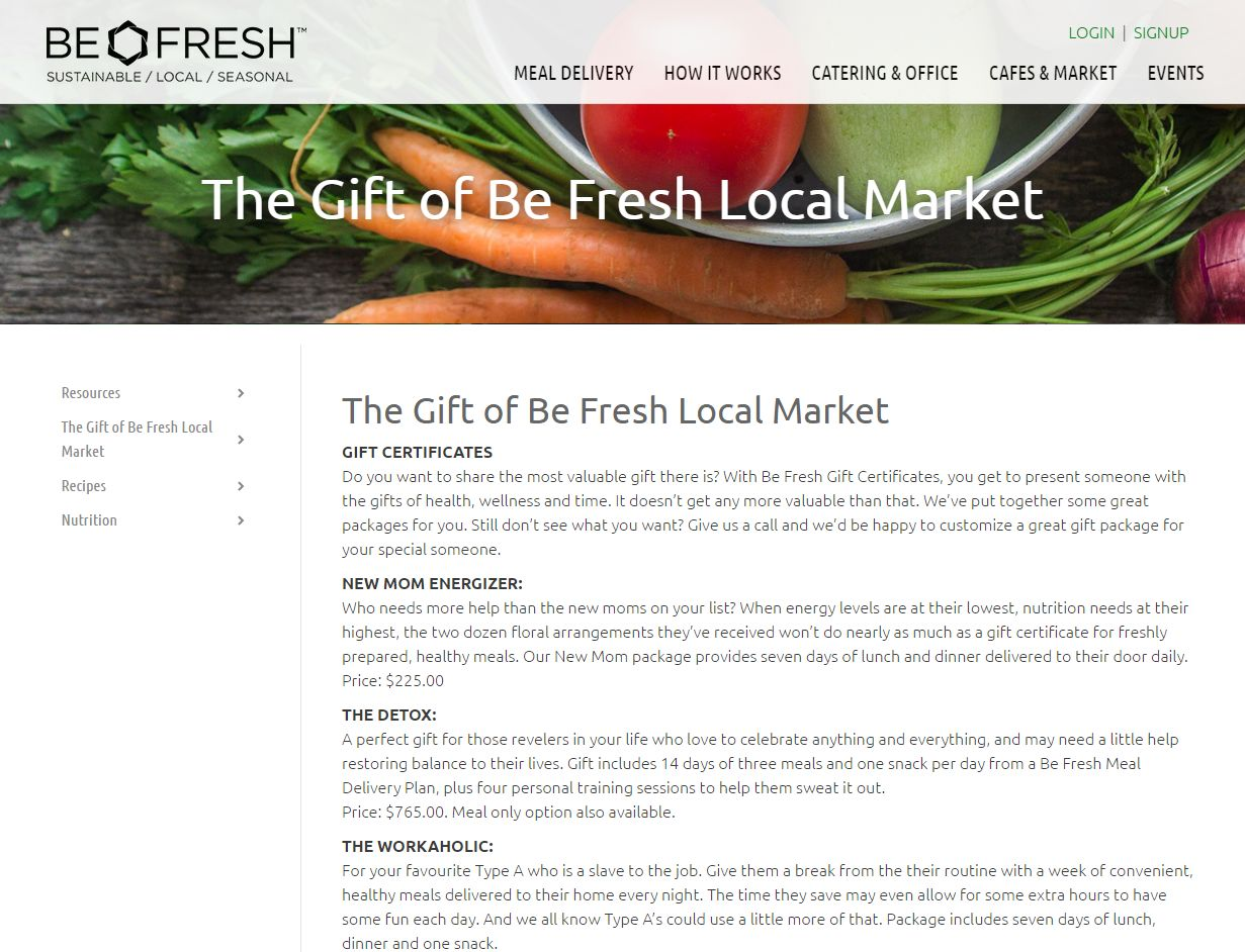 The Gift Of Be Fresh Local Market – Be Fresh Local Market Www Befreshlocal Com Meal Delivery Plans How It Works Gift Licious Livin00711