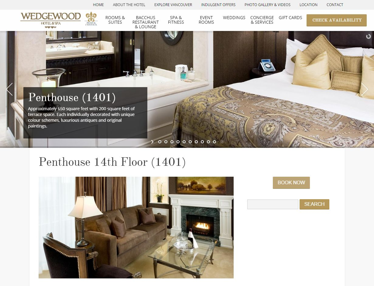 Wedgewood Boutique Hotel Vancouver I Penthouse Suite Www Wedgewoodhotel Com Room Penthouse 14th Floor 14001811